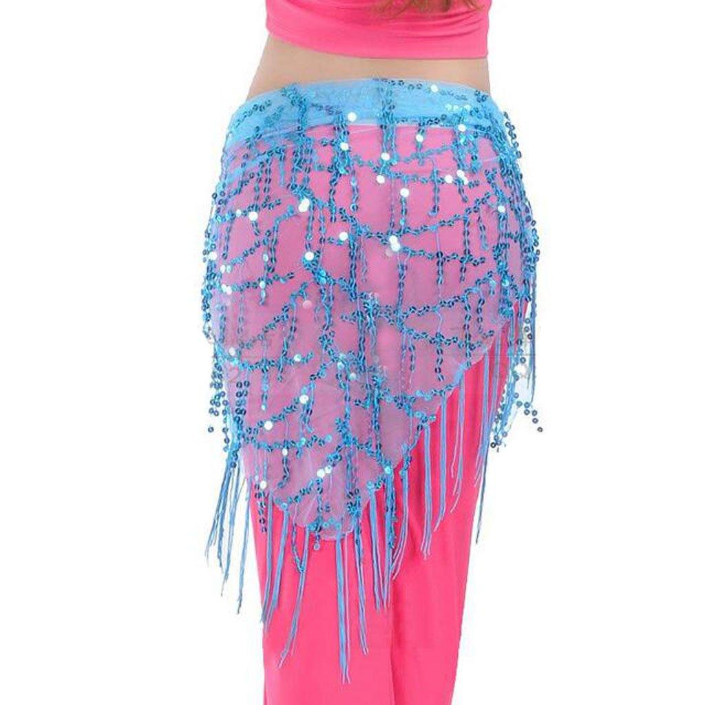 Velo Cara de Malla Bufanda De Cadera Triángulo De Lentejuelas Danza Vientre Dama De Borla - Azul, Cintura: Approx.150cm: Amazon.es: Deportes y aire libre