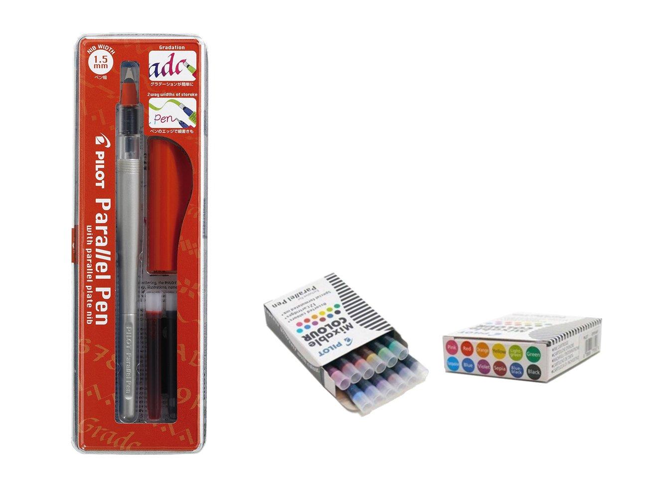 Set Calligrafico 1penna pilot Parallel Pen plumin 1.5mm Ricaricabile + scatola con 12ricariche assortiti penna pilot Parallel Pen Pilot.