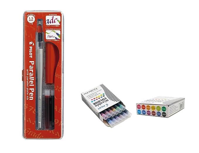 Set 1 Schönschreibfüller Pilot Parallel Pen sortiert plumin 1.5 mm Akku + Box mit 12 Ersatzminen Pilot Parallel Pen