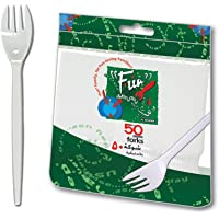 Fun® Everyday Disposable Plastic Fork Set 6.5 inch - White - Pack of 50