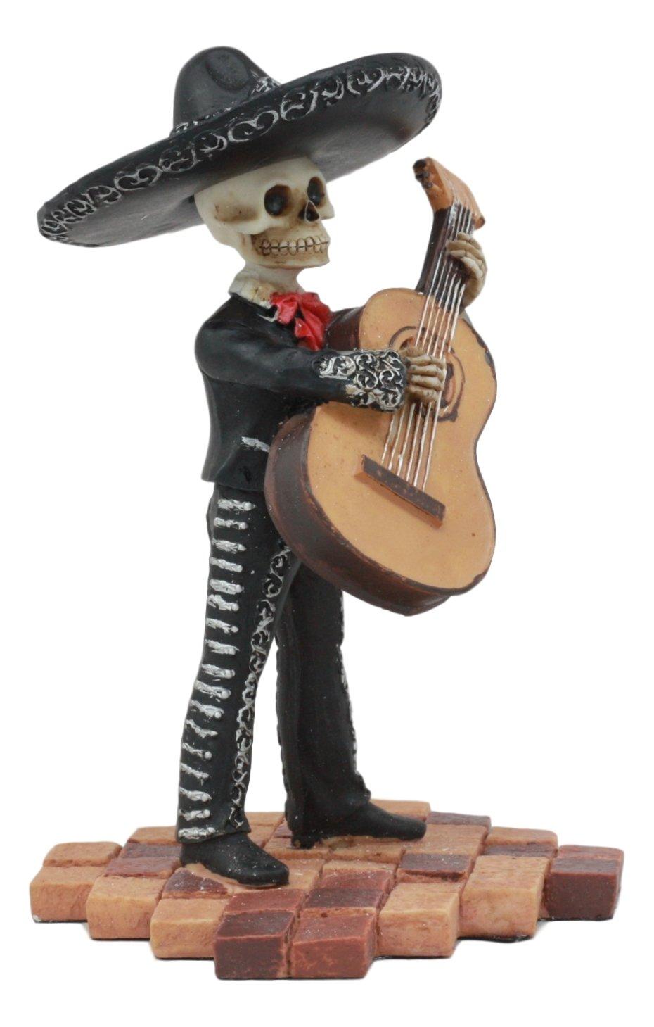 41602583c Amazon.com: Ebros Day Of The Dead Skeleton Wedding Mariachi Bass Player  Statue 5.25