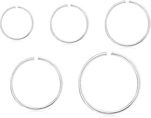 Sterling Silver 6-8-10mm Septum Ear Nose Lip Ring Hoop Earring Sleeper Piercing