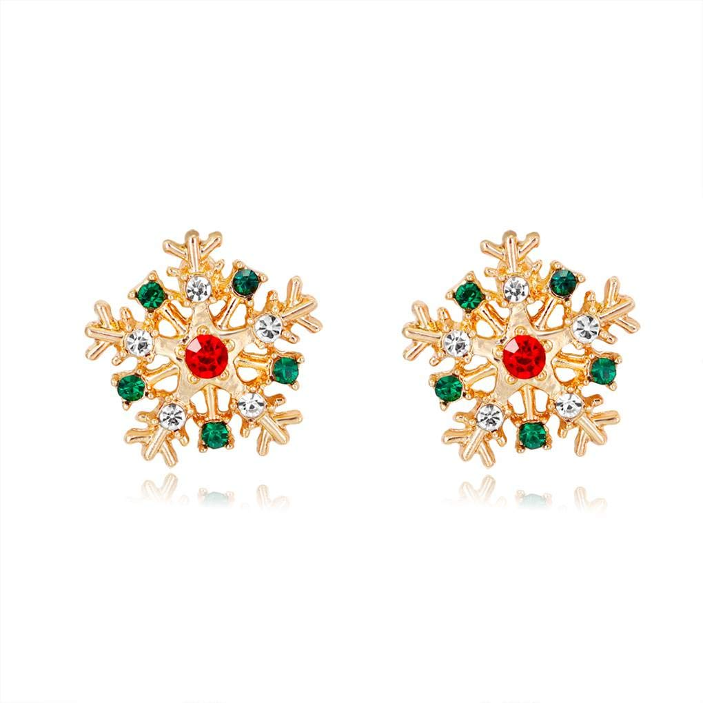 1 Pair Cute Women Christmas Earrings Girl Alloy Drop Oil Santa Snowman Gloves Hat Bells Earrings Holiday Ear Studs