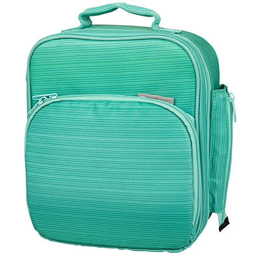 Insulated Durable Lunch Bag - Reusable Meal Tote With Handle and Pockets - Turquoise