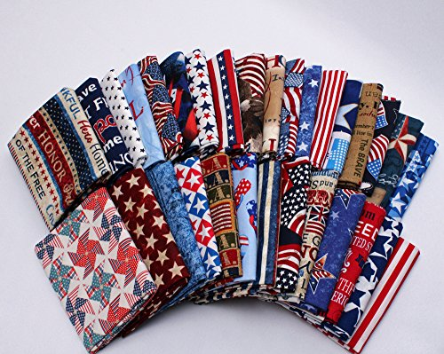 10 Fat Quarters - America USA Patriotic Fat Quarter Bundle Americana American 4th of July Stars and Stripes Assorted Quality Quilters Cotton Fabrics (Patriotic Cotton Fabric Stars)