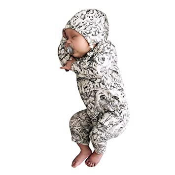 Toddler Baby Boy Girl Organic Coverall OWL Infant Long Sleeve Romper Jumpsuit