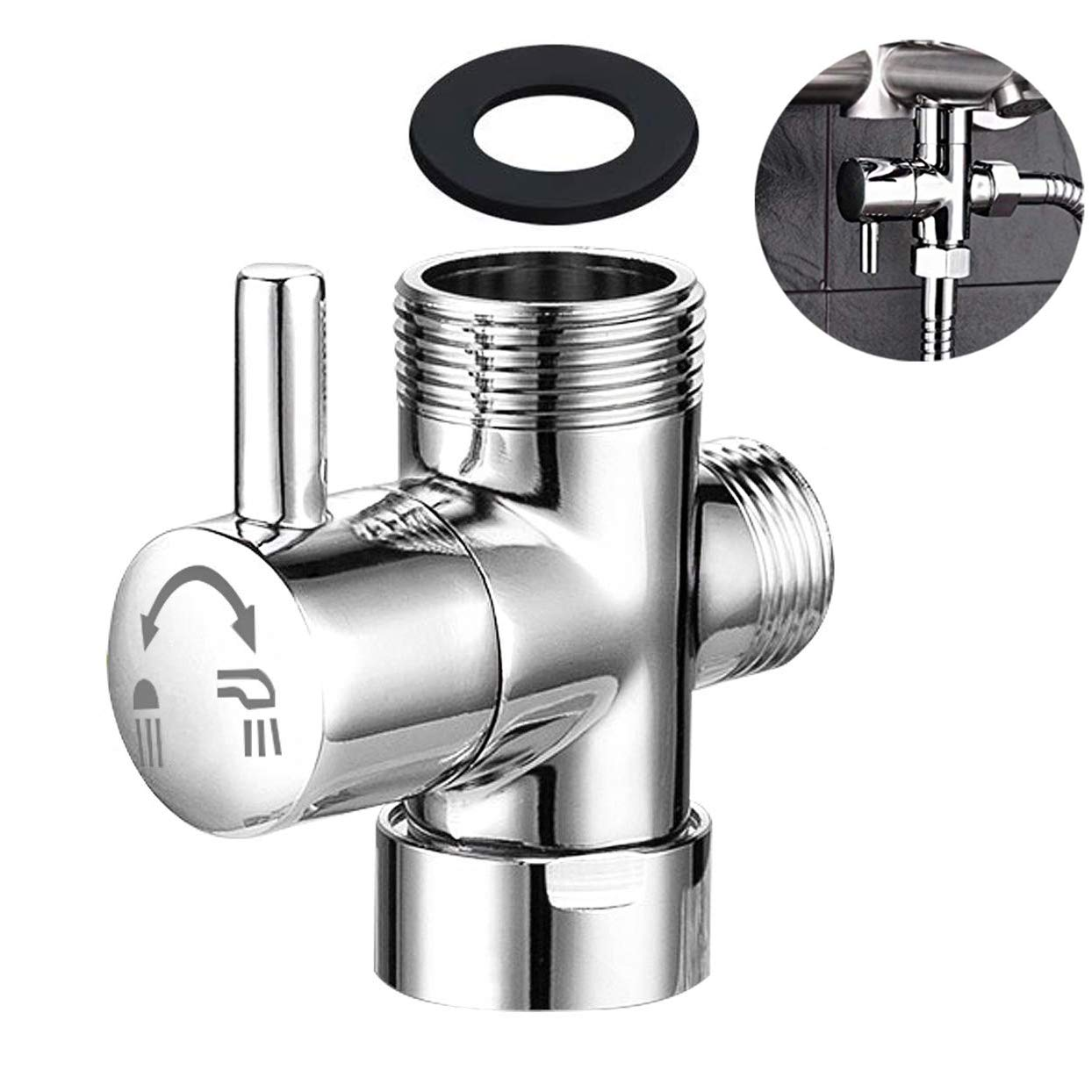 Shower Arm Diverter for Hand Shower, G 1/2 3-Way Shower Head Diverter Valve for Hand Held Showerhead and Fixed Spray Head - Bathroom Universal Shower System Replacement Part (Chrome Diverter) by Hometing