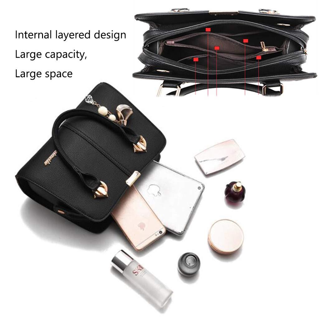 GYPING dammode handväska designer top tote handväska av PU axelväska platina clutch avtagbar justerbar rem, grå Röd