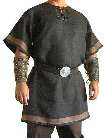 S Uomini adulti Rinascimento medievale Sposi Rievocazione pirata Costume Larp Allacciatura camicia Camicia maniche medioevo Top per uomo come foto