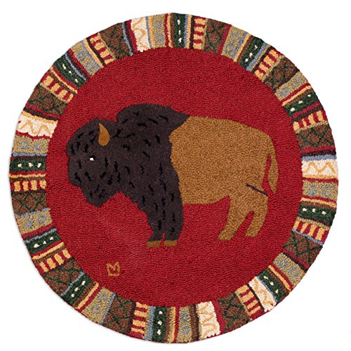 "Cinnamon Buffalo - 36"" Round Hooked Rug from Chandler 4 Corners"