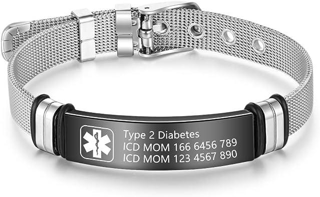 Réglable Hommes Médical Alert ID Nom Bracelet diabète de type 1 Acier Inoxydable