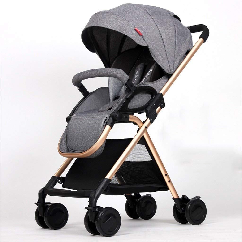 LLYU Baby Four Wheels Trolley Awning Bike Baby Trolley Newborn Baby Carriage Foldable Can Sit and Lie Down Damping Baby Cart for 1 Month -3 Years Old