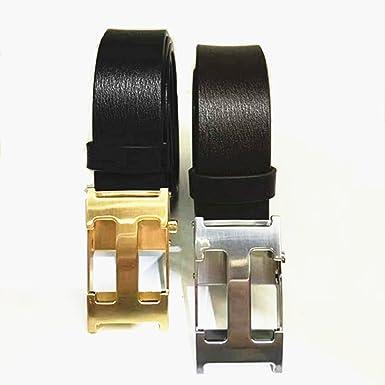 Amazon.com: Ocio de moda plata H hebilla cinturones de piel ...