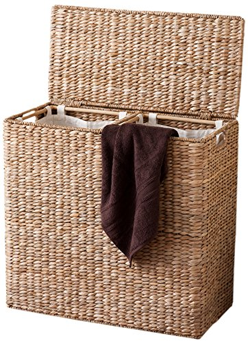 BirdRock Home Oversized Divided Hamper with Liners (Honey) | Made of Natural Woven Seagrass Fiber | Organize Laundry | Cut-Out Handles for Easy Transport | Includes 2 Machine Washable Canvas Liners (Hamper Lid Wicker With Lined)