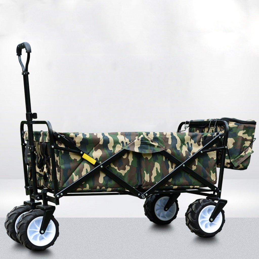 4-wheel折りたたみショッピングカート、ポータブル、push-pullカート、ライトハンドカート、キャンプアウトドアショッピングカート、l100 W24 h75 cm、荷重を受ける80 kg  迷彩 B07C42WC2Z