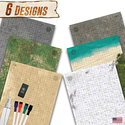 Battle Grid Game Mat - 3 Pack Double Sided 36 x 24 - Portable DND RPG Table Top Role Playing Map - Dungeons and Dragons Starter Set - Tabletop Gaming Paper - Reusable Figure Board Game ()