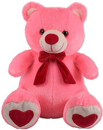 Frantic Teddy Bear with Neck Bow Premium Quality Soft Plush Fabric (Pink_Legs_Hearts, 32 cm)