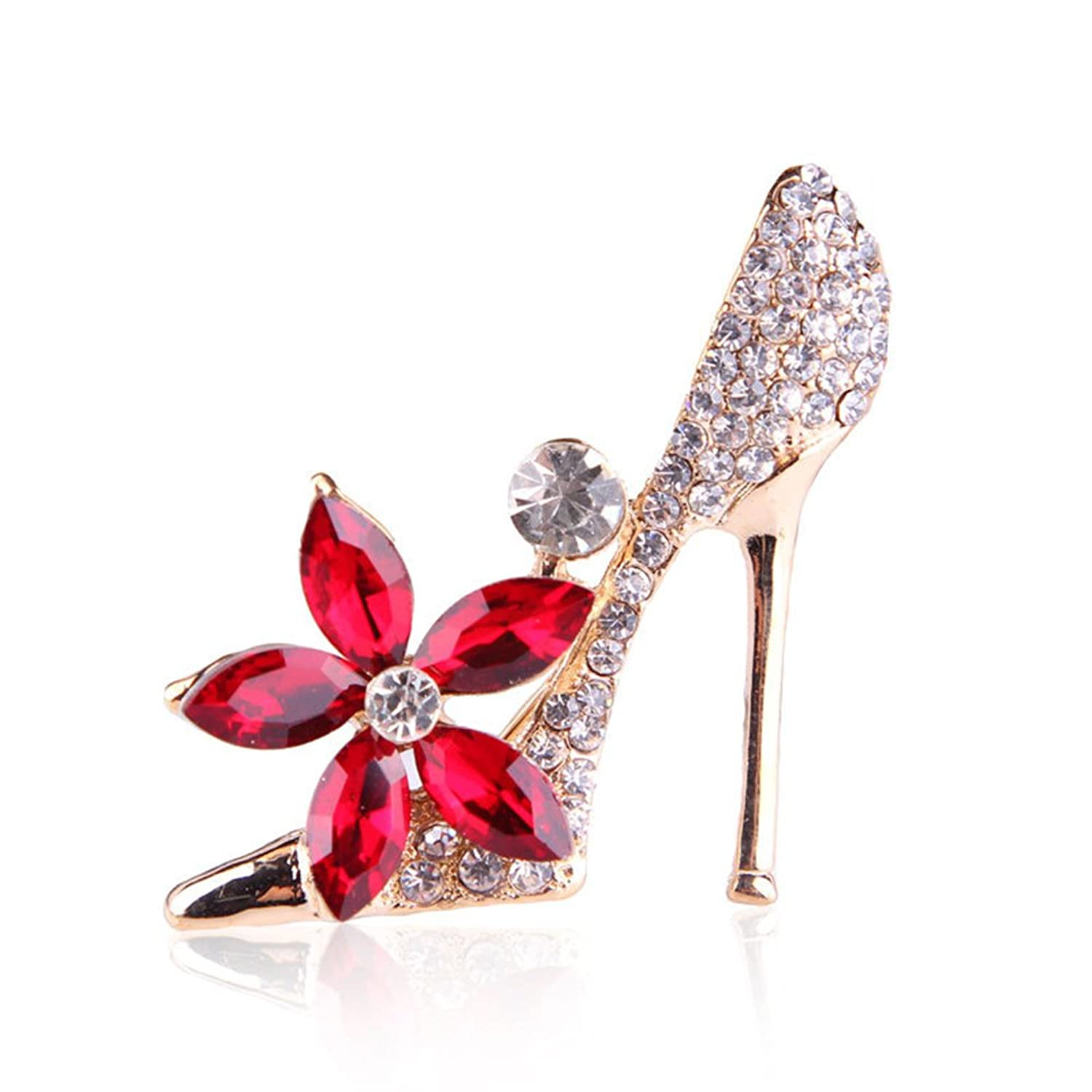 CHUYUN Red Crystal Flower and White Crystal High Heels Brooch Pin Jewelry