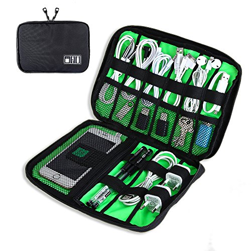 Travel Electronics Cable Organizer Bag Portable Storage Case for Hard Drive, Cords, Cables, Charger, Black-by Yblntek