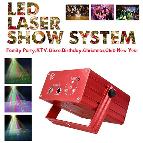 1PLUS LED Laser Stage Lighting Club DJ Party Disco Lights with Remote Control, Red