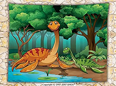 Kids Decor Fleece Throw Blanket Dinosaurs in a Tropical Forest Jurassic Dino Cartoon Children Art Craft Theme Print Party Decorations Throw