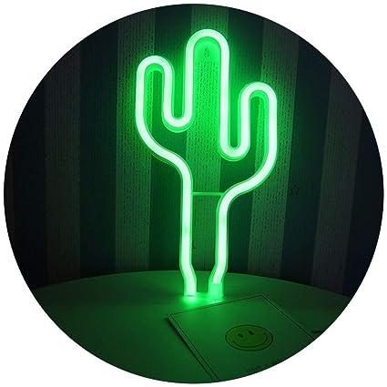 Amazoncom Led Cactus Neon Light Sign Wall Decor Night Lights Home