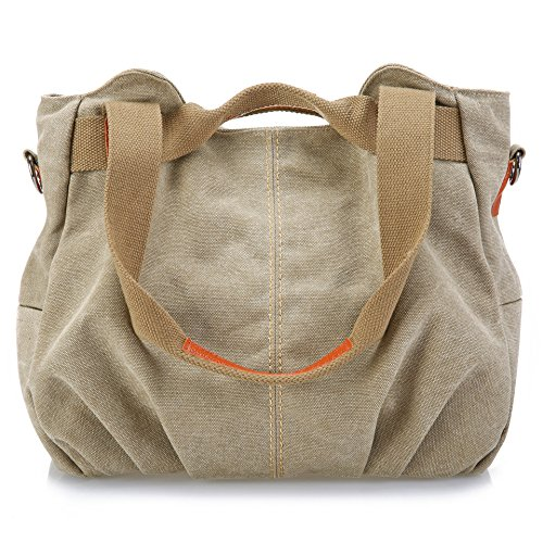 Canvas Handbag Tote (Z-joyee Women's Ladies Casual Vintage Hobo Canvas Daily Purse Top Handle Shoulder Tote Shopper Handbag Satchel Bag, Khaki)