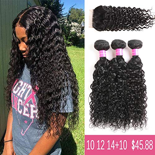(9A Brazilian Virgin water Wave Human Hair 3 Bundles with Lace Closure Free Part 100% Unprocessed Brazilian Water Wave Hair Weave Bundles Natural Color(10 12 14+10))