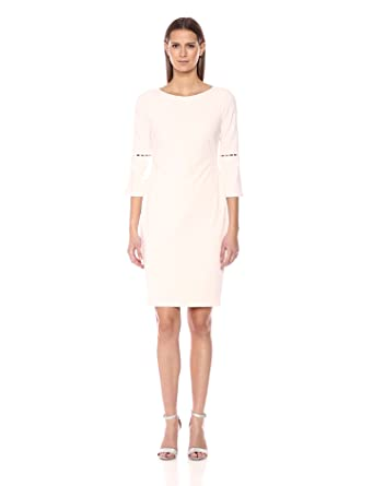 22d81eb4 Calvin Klein Women's Solid Sheath With Detailed Split Sleeve Dress,  Blossom, ...