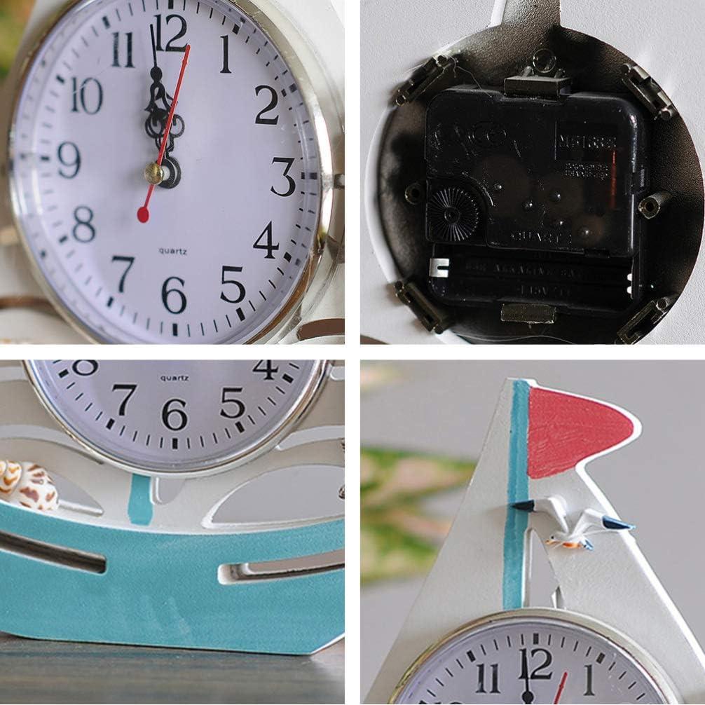 Garneck Sailboat Table Clock Mediterranean Nautical Desk Clock Wooden Clocks Sailboat Clocks Home Decor