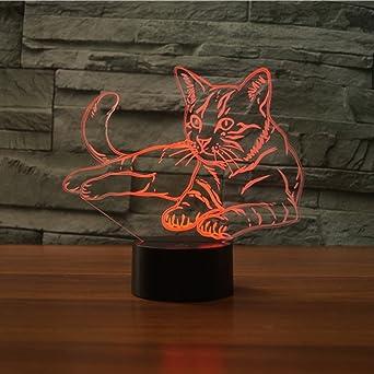 3D Katze Lampe USB Power 7 Farben Amazing Optical Illusion 3D ...