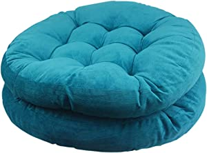 Solid Papasan Patio Seat Cushion Round Chair Pad Home Floor Cushion 22 Inch Set of 2 Throw Pillows Indoor/Outdoor Blue