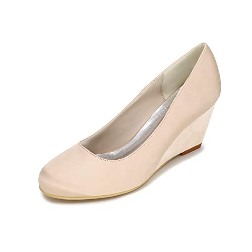 bd56b591702 Amazon.com | LLBubble Women Chunky Cone Heels Satin Wedding Shoes ...