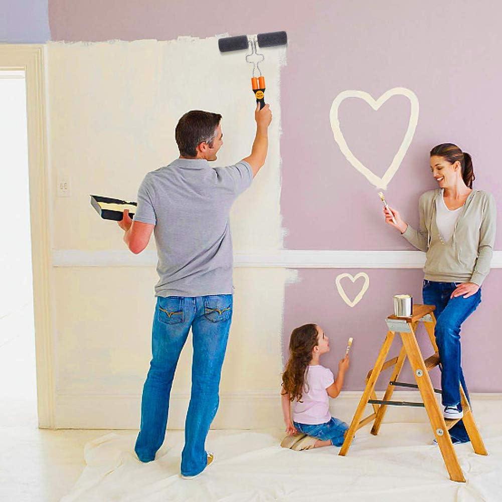 Juego de 5 rodillos de pintura multifunci/ón vaso medidor con varilla para pintar en cualquier pared y techo herramienta de interior para esquinas