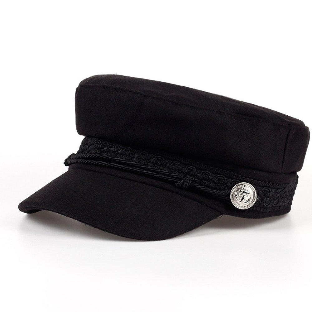 Xuzirui Octagonal Cap Wool Button Adjustable Baseball Caps Sun Visor Hat Gorras Casquette Touca Black Casual For Women Men (Black) at Amazon Mens Clothing ...