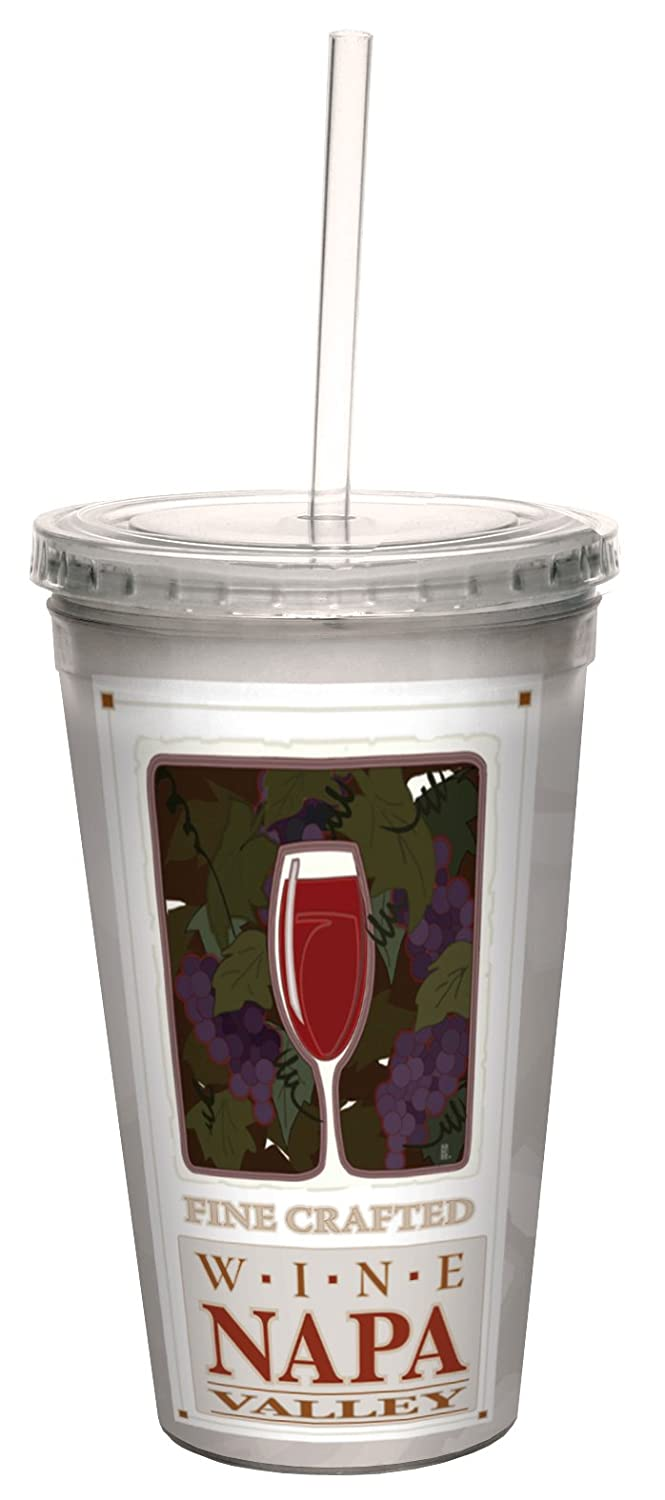 Tree-Free Greetings cc33075 16-Ounce Elegant Napa Valley Wine Country Double-Walled Cool Travel Cup with Reusable Straw Gift for Wine Lovers