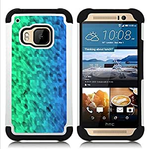 GIFT CHOICE / Defensor Cubierta de protección completa Flexible TPU Silicona + Duro PC Estuche protector Cáscara Funda Caso / Combo Case for HTC ONE M9 // Pattern Green Blue Uniform //