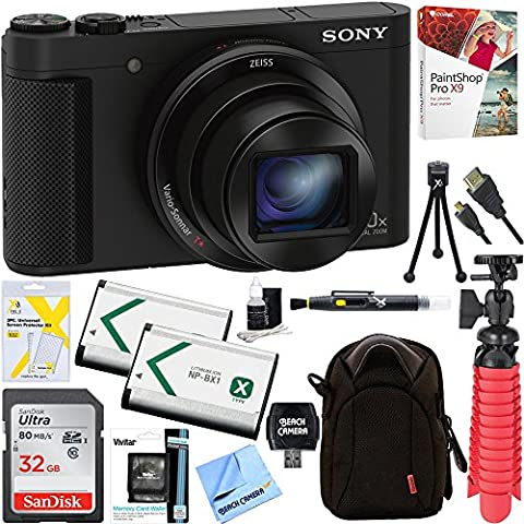 Sony Cyber-shot HX80 Compact Digital Camera with 30x Optical Zoom (Black) + 32GB SDHC Memory Dual Battery Kit + Accessory - Sony 12 Inch