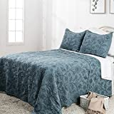 Elegant Life 100% Cotton Night Blossom Embroidery Bed Quilt Bedspread, Luxury Floral Pattern Comforter for All-season use, King Size, 108'' x 95'', Park Blue, Designed by