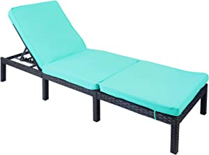 AGESISI Rattan Wicker Chaise Lounge Chair Adjustable Patio Reclining Chair Outdoor Chaise with Turquoise Cushion for Poolside Garden Terrace Courtyard