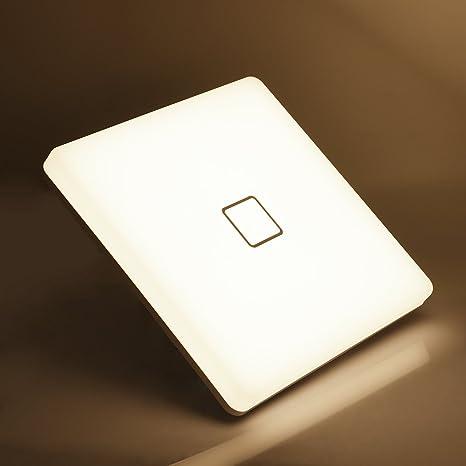 Plafones LED Airand 24W Cuadrado Lámpara de Techo 3000K Blanco Cálido 2050LM Billante Eficiente Energía Impermeable IP44 luz de techo LED para Baño ...