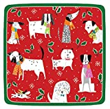 Entertaining with Caspari 14130SP Christmas Canines Square Salad/Dessert Plates Paper, Red