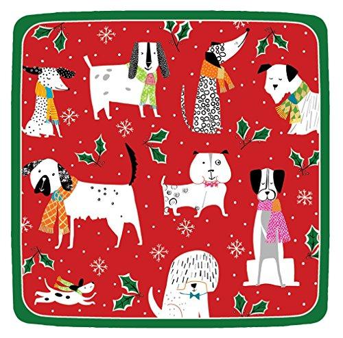 Entertaining with Caspari 14130SP Christmas Canines Square Salad/Dessert Paper Plates, Red