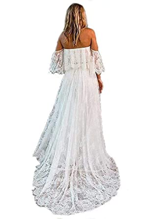 5e4bc693bdbf5 Women's Off Shoulder Lace Wedding Dresses 2018 Beach Bridal Gowns at Amazon  Women's Clothing store: