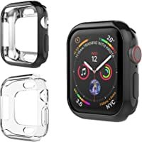 UMTELE Compatible for Apple Watch 4 Case 44mm 40mm, Soft Plated TPU Case Anti Scratch Screen Protective Bumper Cover for New Apple Watch 4 2018, 2 Pack - 44mm 40mm