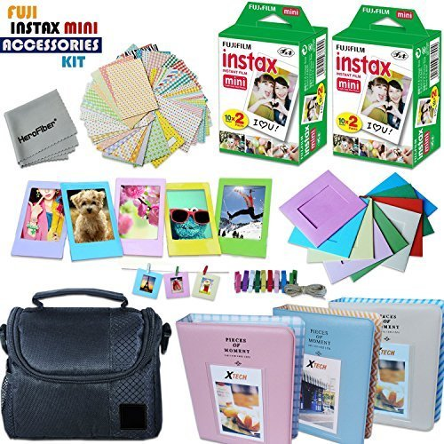 Xtech FujiFilm Instax Mini PRO Accessories Kit f/Fujifilm Instax Mini 8, Mini 8+, Mini 70, Mini 7, Mini 7s, Mini 90, Mini 25, Mini 50s Includes: 40 Instax Film + Frames + Case + Photo Albums + MORE by HeroFiber