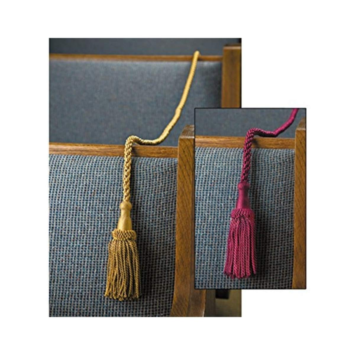 Pew Reservation Ropes Pack of 2 Weighted with Tassels, Gold, 8 Foot