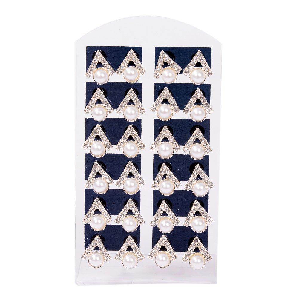 Babasee 12 Pairs Pearl Rhinestone Stud Earrings Geometric Shape Ear Stud Earrings Set