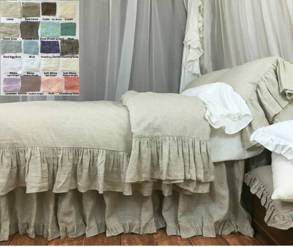 a756c426cc Natural Linen Duvet Cover with Mermaid Long Ruffle, Shabby Chic Bedding,  Luxury Bedding Collections, White, Grey, Cream, Pink, Blue, Stripe,  Chevron, ...