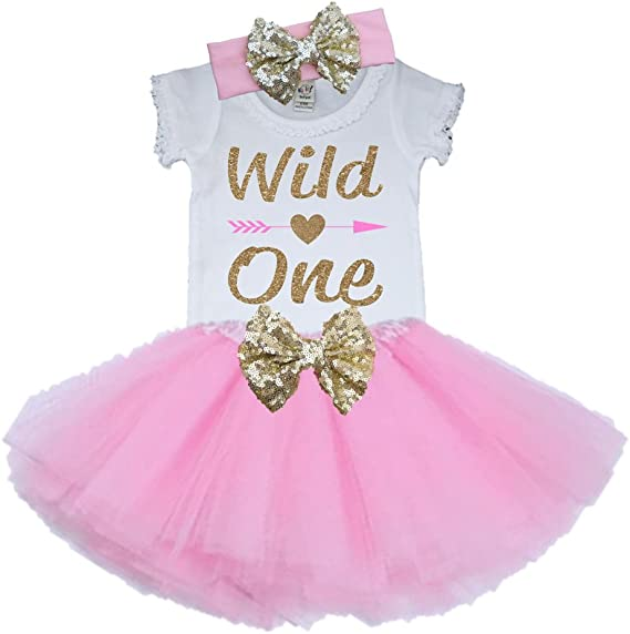 1st Birthday Tutu Set One Pink Ivory and Gold Tutu Set Pink TutuBirthday Outfit